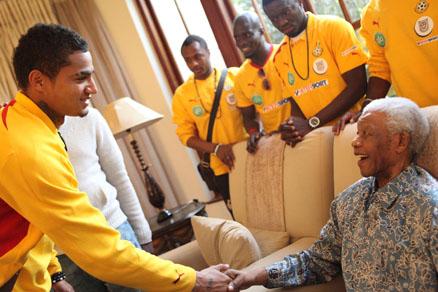 Ghanaian striker Kevin Prince Boateng greets former president nelson Mandela at his Houghton residence