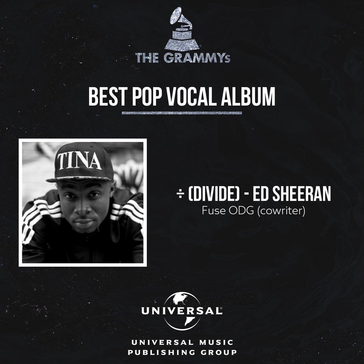 ED SHEERAN'S CO-WRITTEN ALBUM WITH FUSE ODG WINS GRAMMY AWARD
