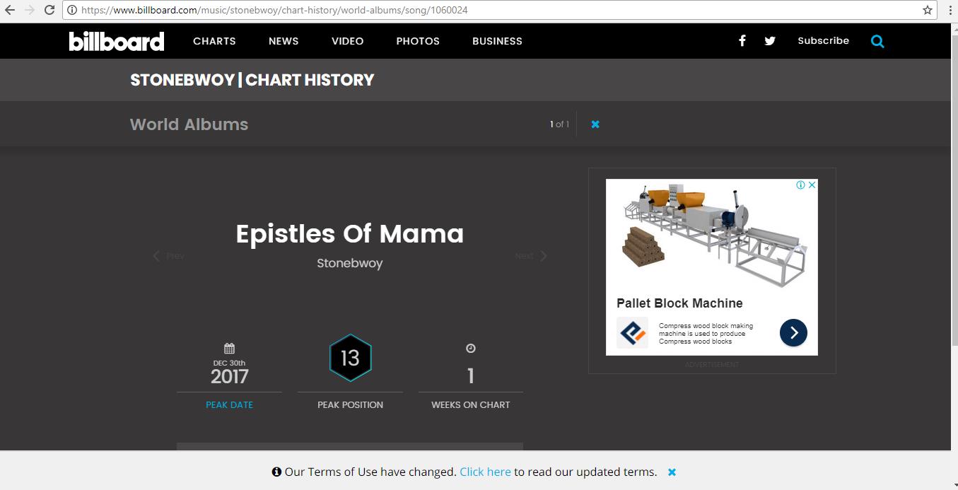 Stonebwoy makes BillBoard World Chart historyStonebwoy makes