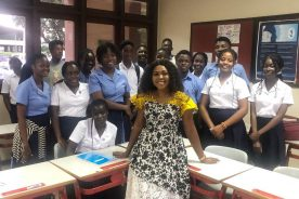 Actress Sitsofe Tsikor schools students of SOS-Hermann Gmeiner Sch